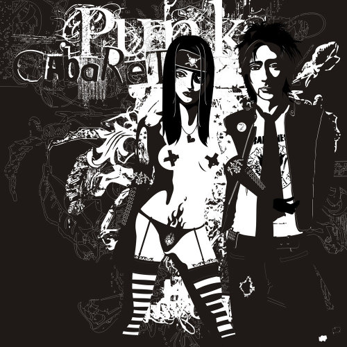 black and white Punk Cabaret art by Patrick Boyer