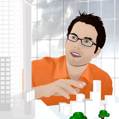 graphical illustration of man portraiture with architectural scene