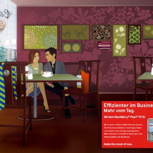 An illustration for Vodafone mockup by Patrick Boyer