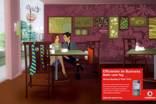 An illustration for Vodafone mockup by Patrick Boyer