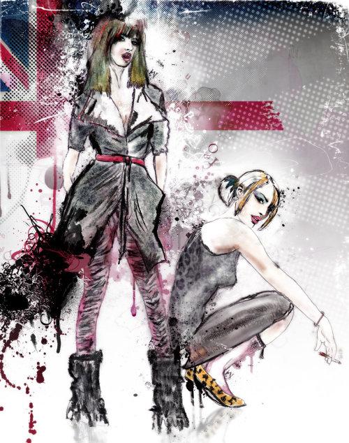 watercolor illustration of fashion women 2lip licks
