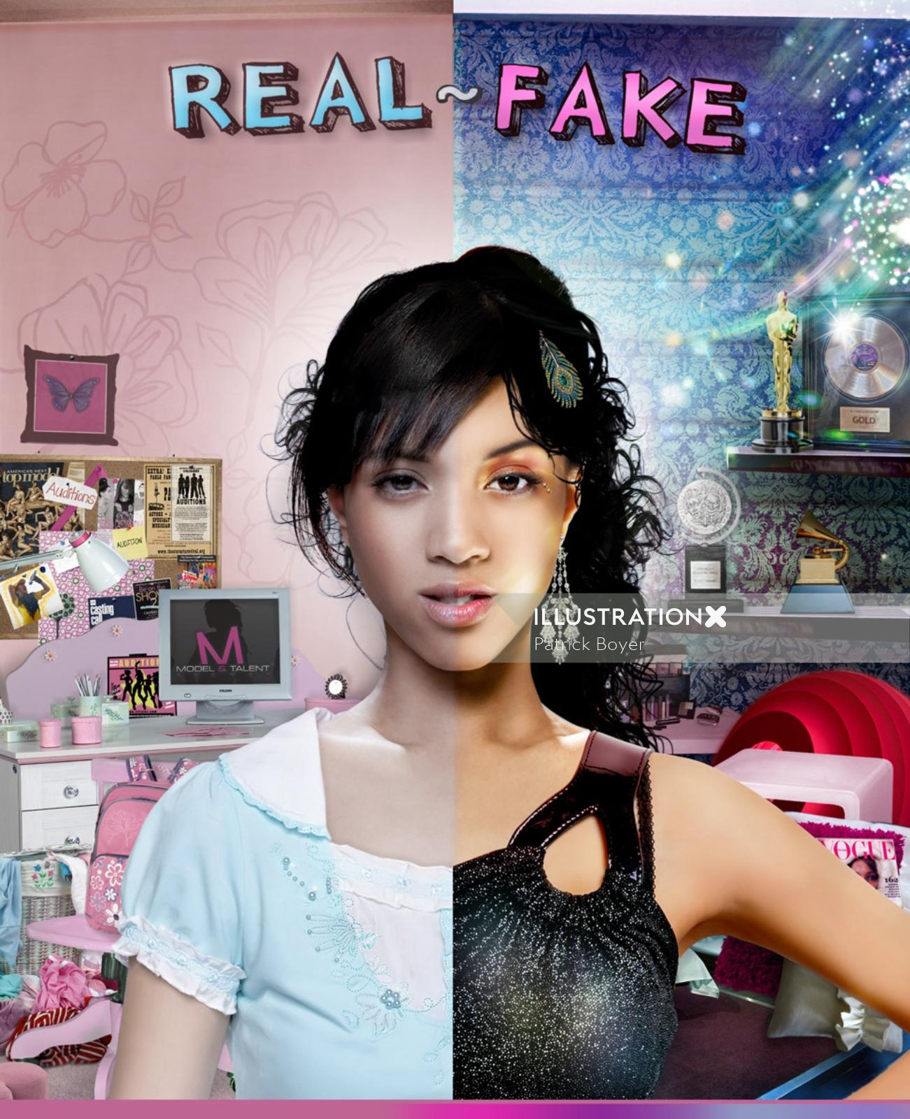 Real and fake two side girl portrait