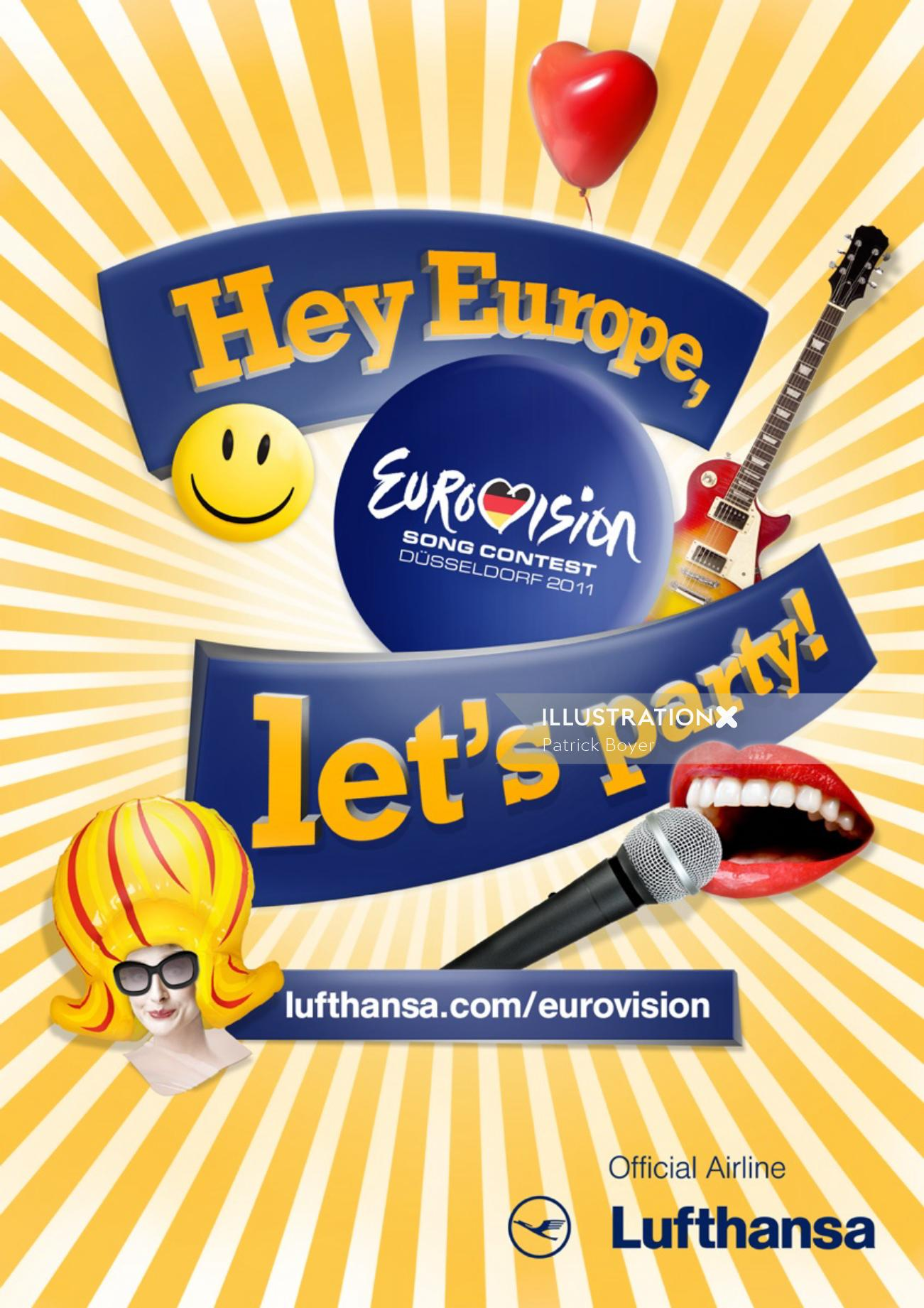 EuroVision 2011 - Lufthansa - An illustration by Patrick Boyer