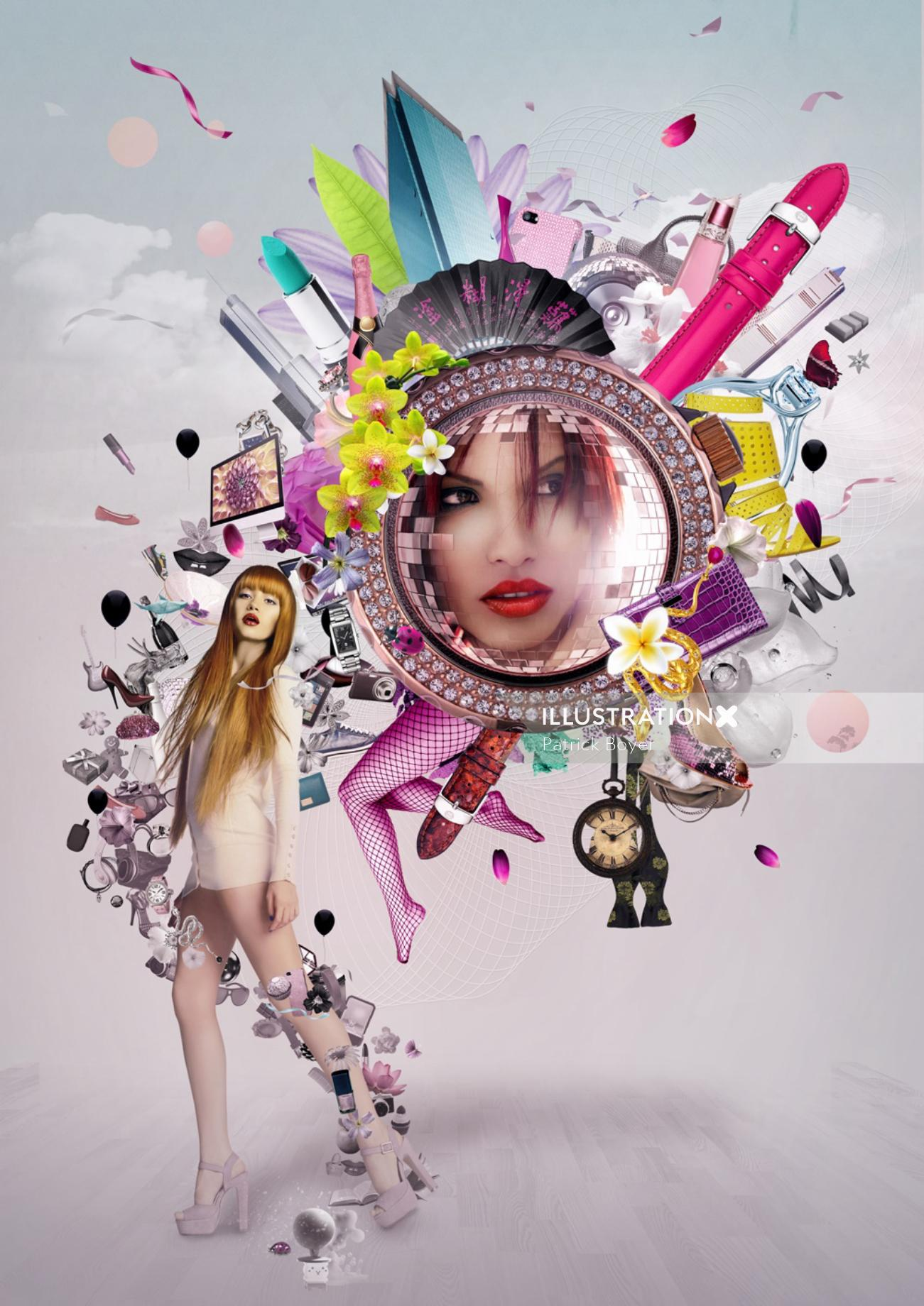 conceptual illustration of Fashion woman