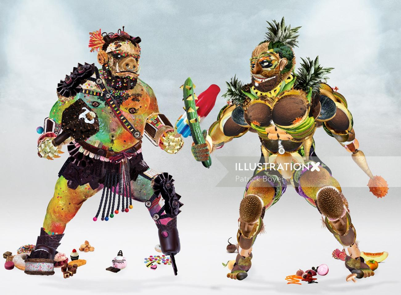 Conceptual illustration of Food Fighters