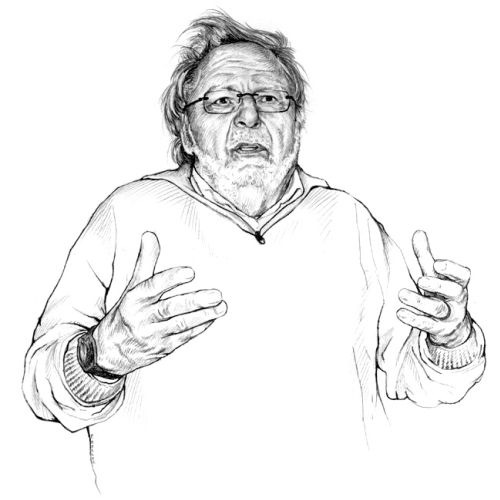 Line portrait of old man