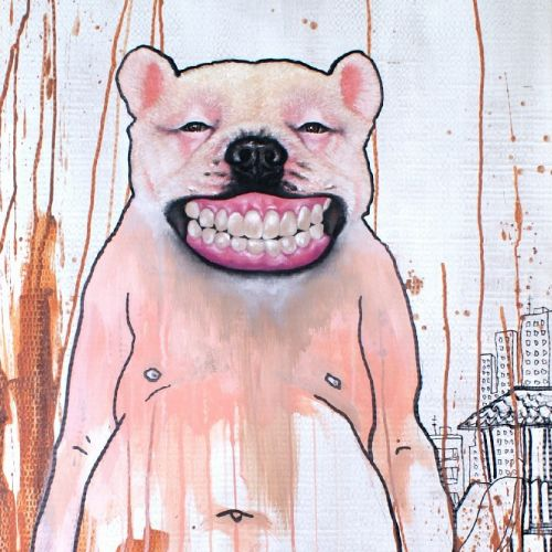 Watercolor portrait illustration of smiling bear