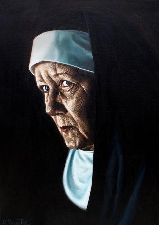 realistic art of senior nun