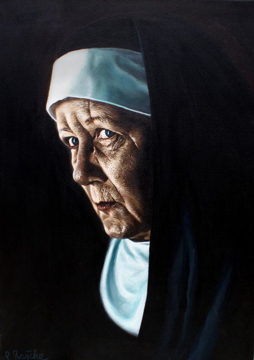 Portrait illustration of senior nun