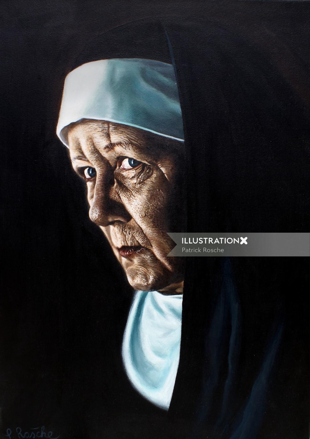 Portrait illustration of senior nun