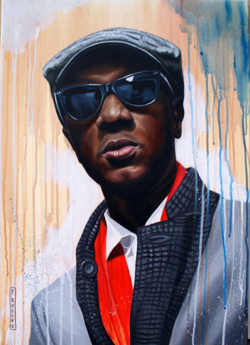 portrait illustration of Aloe Blacc
