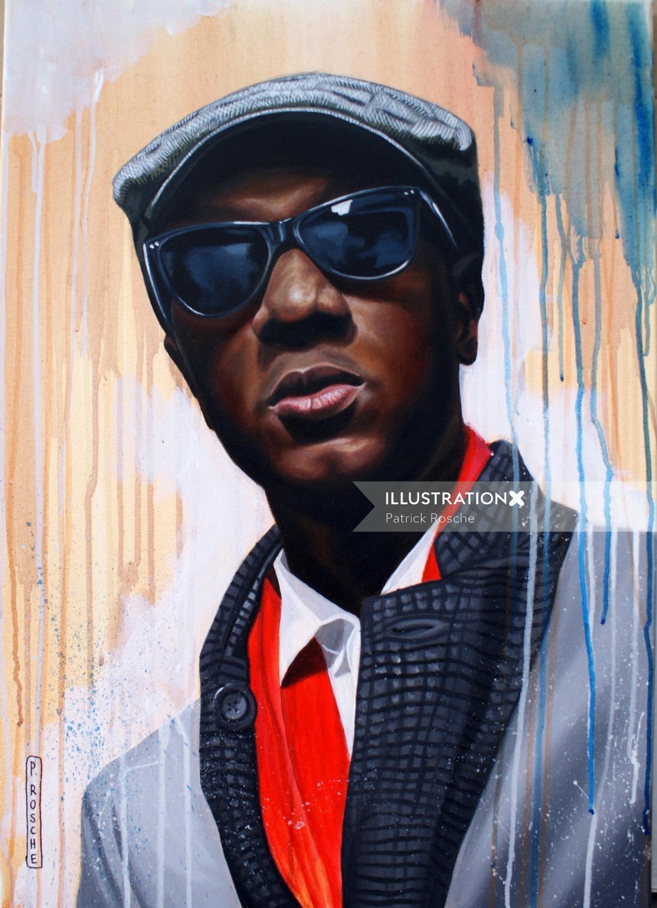 portrait illustration of Aloe Blacc