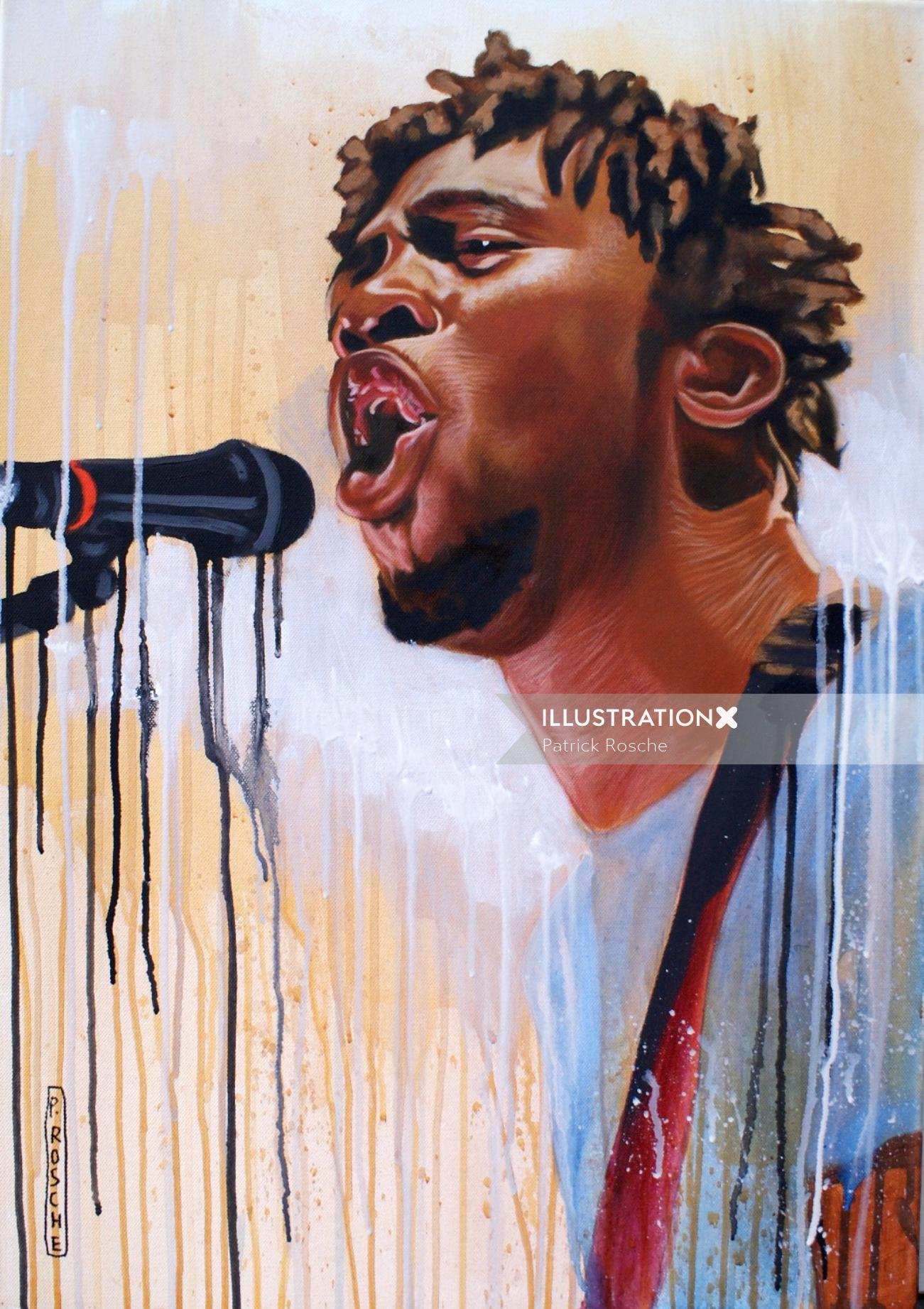 Male singer portrait illustration