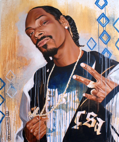 Oil portrait illustration of snoop dogg