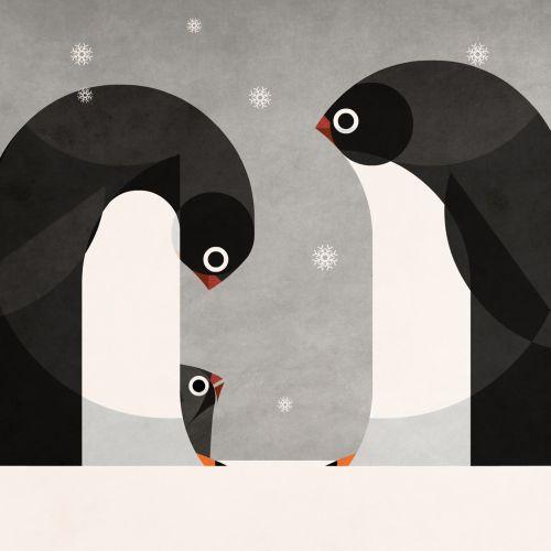 Penguins art for American National Insurance