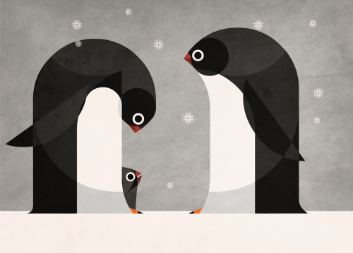 Penguins art for American National Insurance