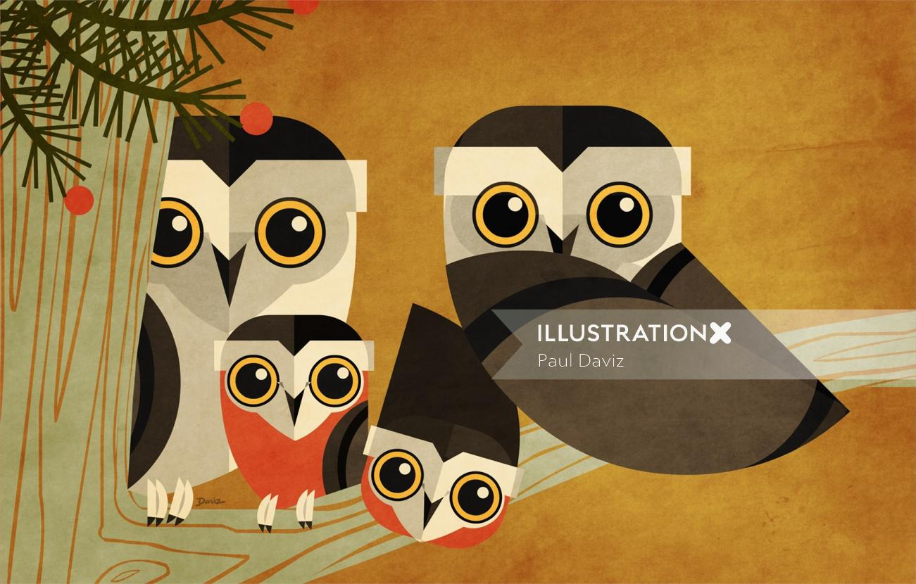 Owls Graphic art for American National  Insurance
