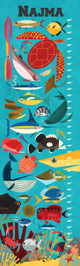 Colorful wall art of fishes