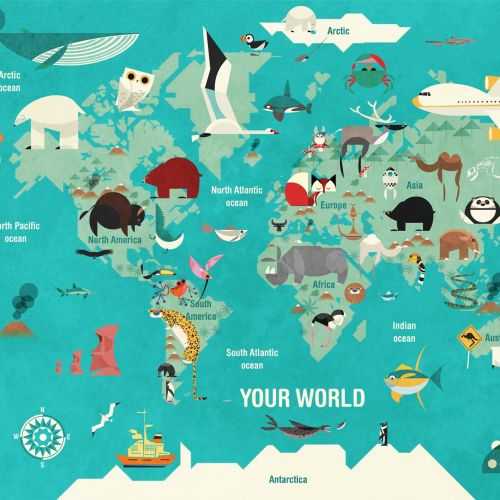 Wall art of world map