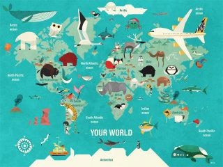 Wall art of world map