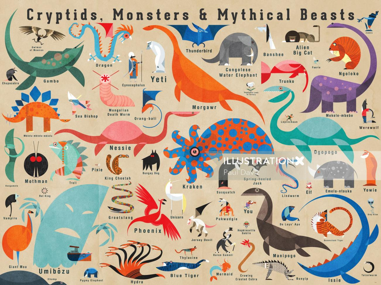 Graphic Cryptids Monsters & Mythical Beasts