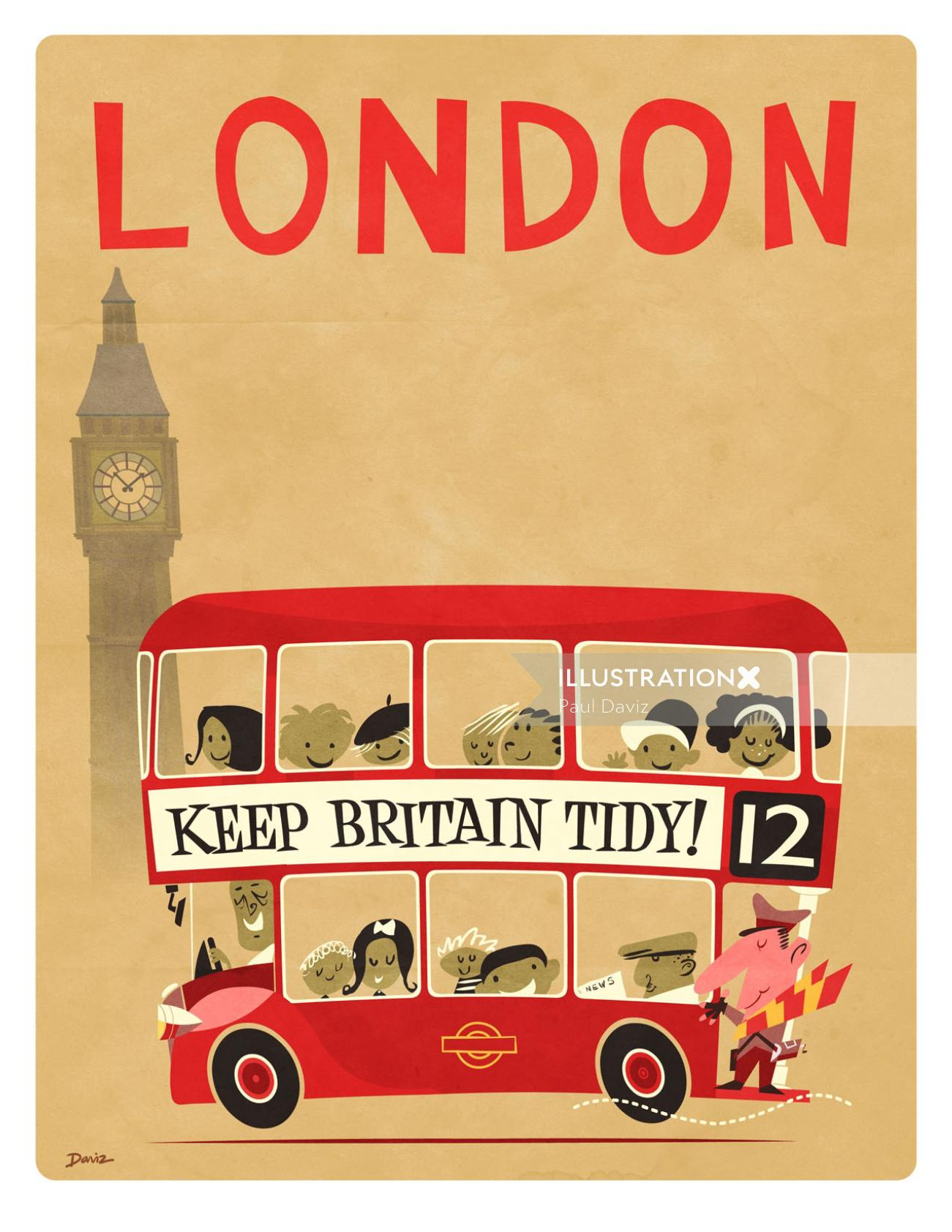 Souvenir of London Bus poster for Daviz Industries