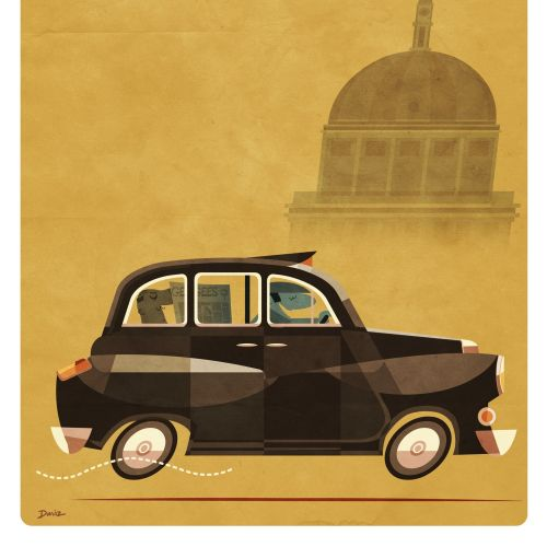 Souvenir of London Taxi Poster for Daviz Industries