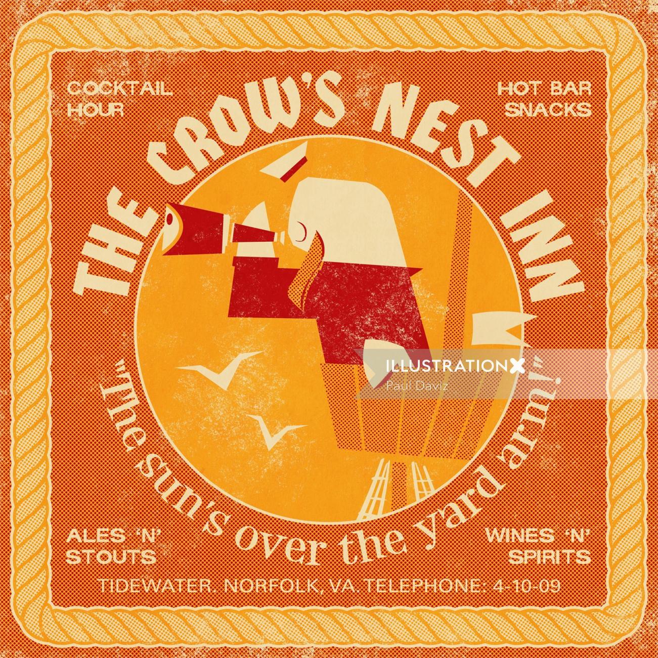 Retro Crow's nest Inn Poster for Open Road