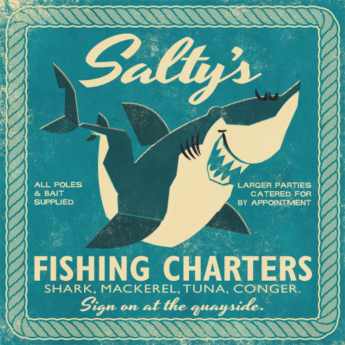 Retro Salty's Fishing Charter Poster for Open Road
