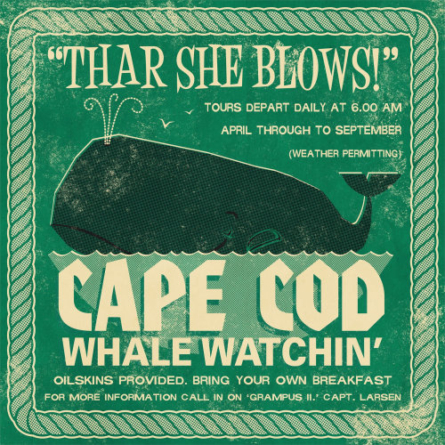 Cape Cod whale watchin Retro Poster for Open Road