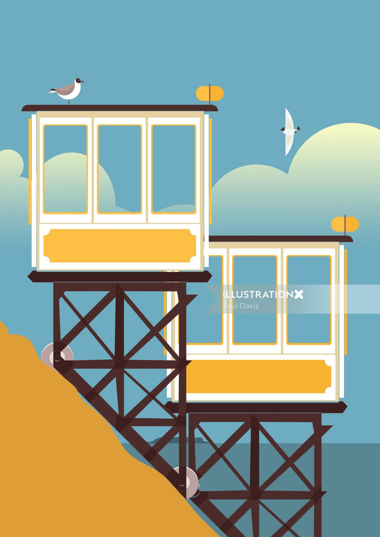 Computer generated Birds on cabins