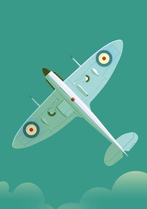 Cartel de arte volando avión de guerra