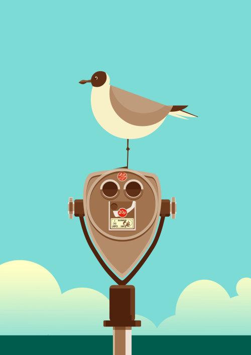 Computer Generated Bird siting on binoculars