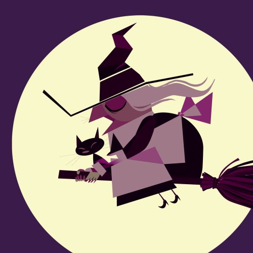 Computer Generated Witch on broom