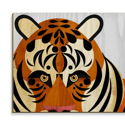 Tiger - Wooden postcard design
