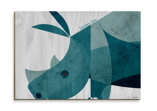 Rhino Wooden Postcard design for Stolarnia Kartek