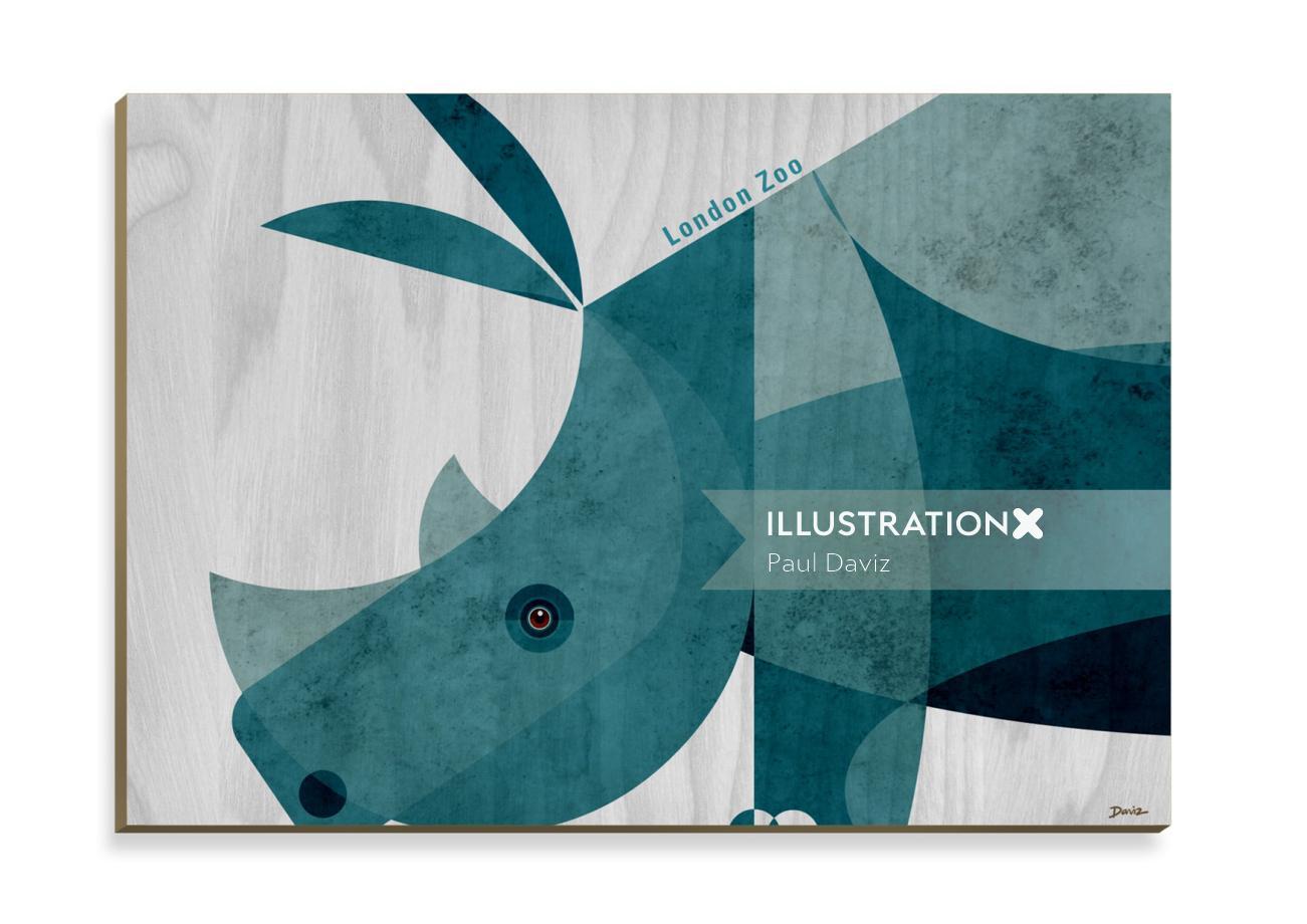 Rhino Wooden Postcard design for Stolarnia Kartek