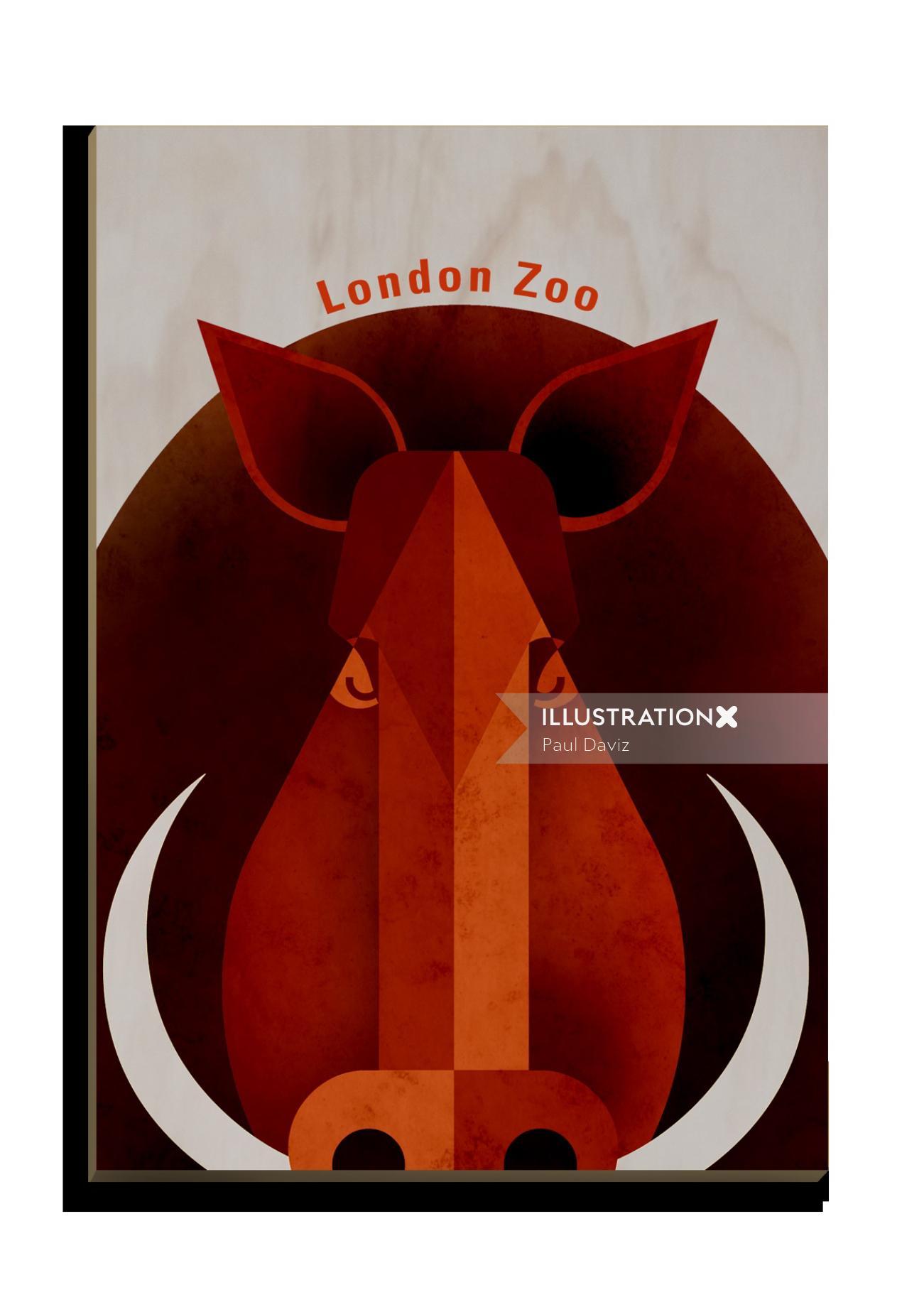Wild Boar Wooden Postcard design for Stolarnia Kartek