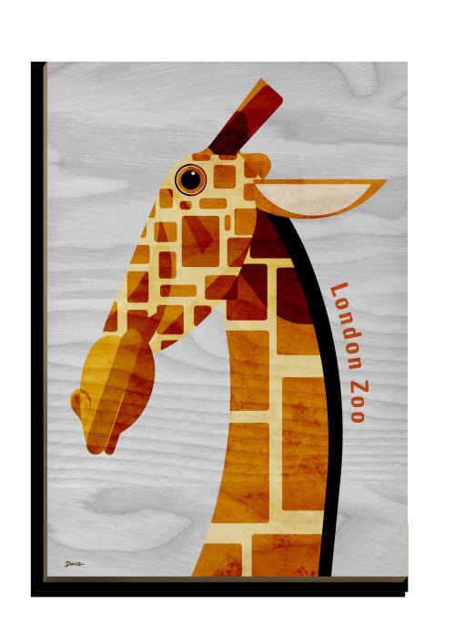 Giraffe Wooden Postcard design for Stolarnia Kartek