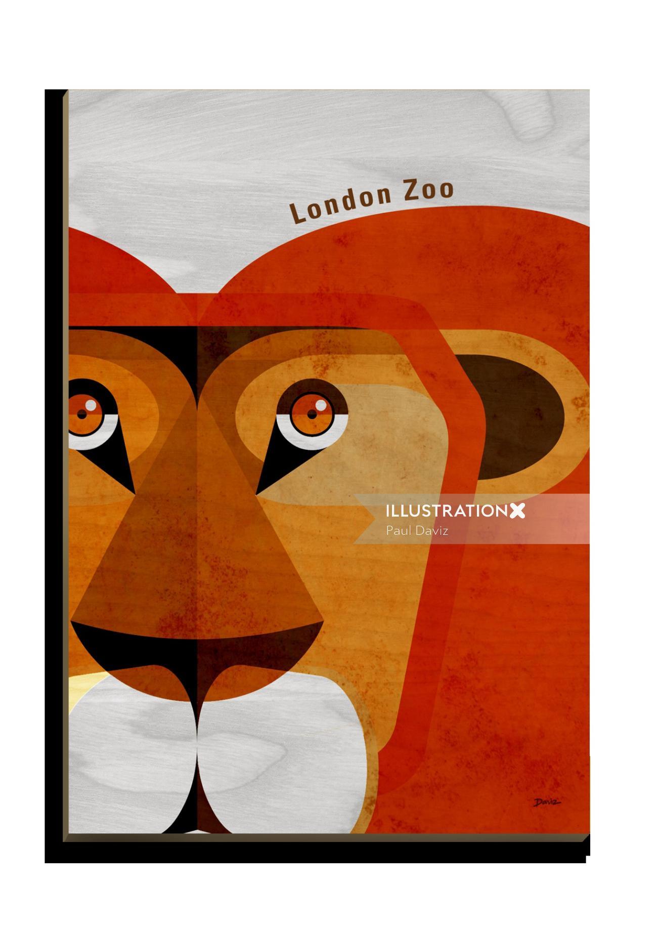 Wooden postcard art of Lion