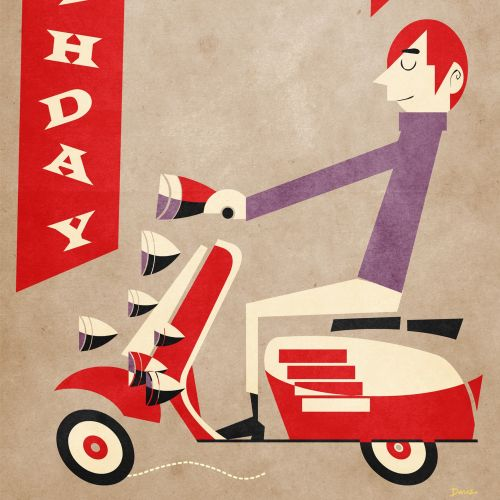 Birthday boy on scooter Greeting card art