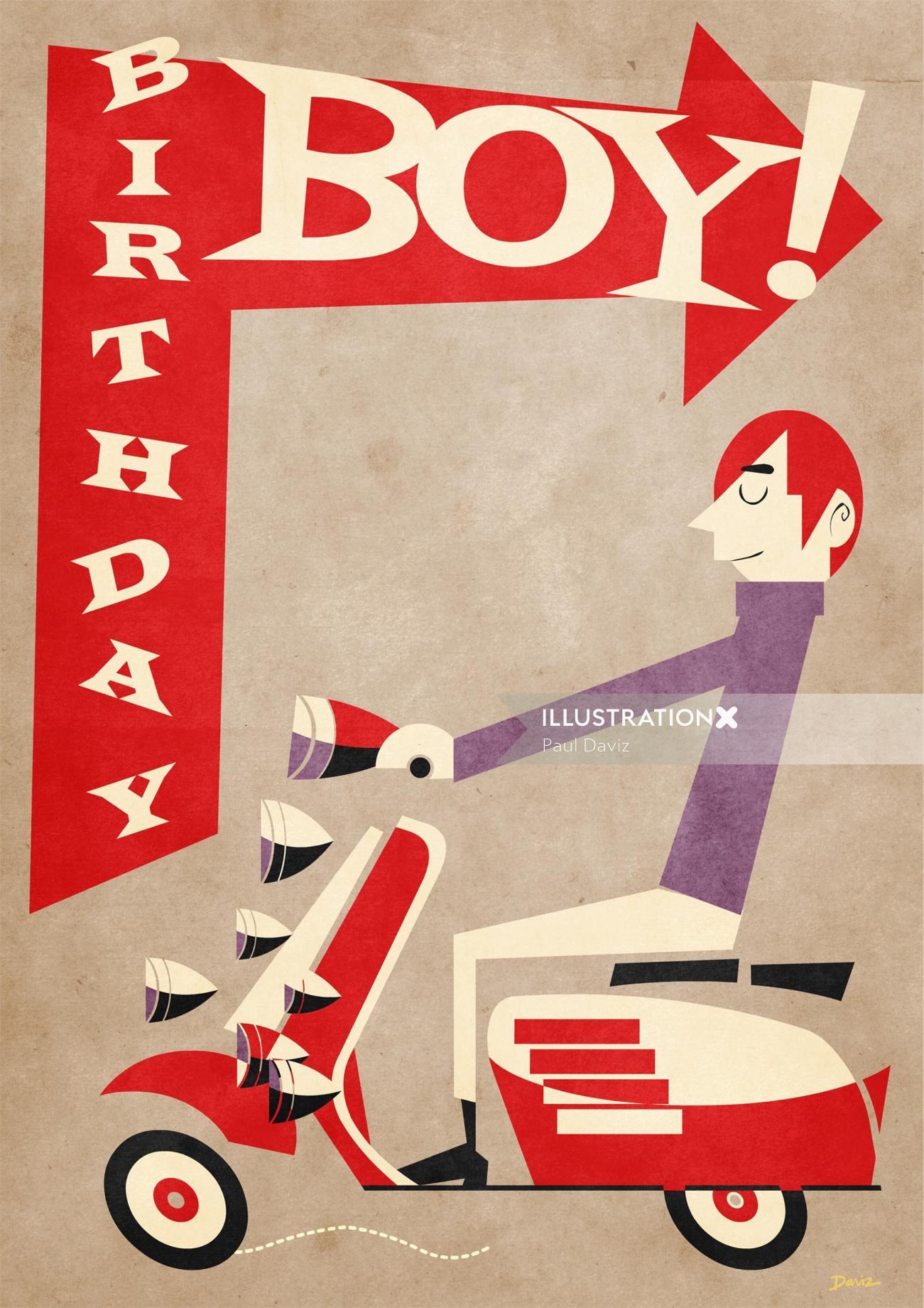 Birthday boy on scooter Greeting card art