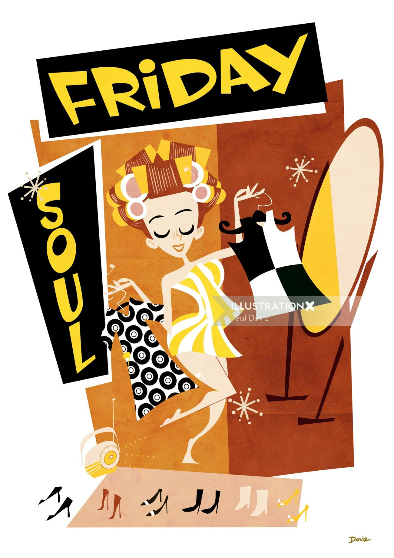 Friday soul Graphic art Greeting Card