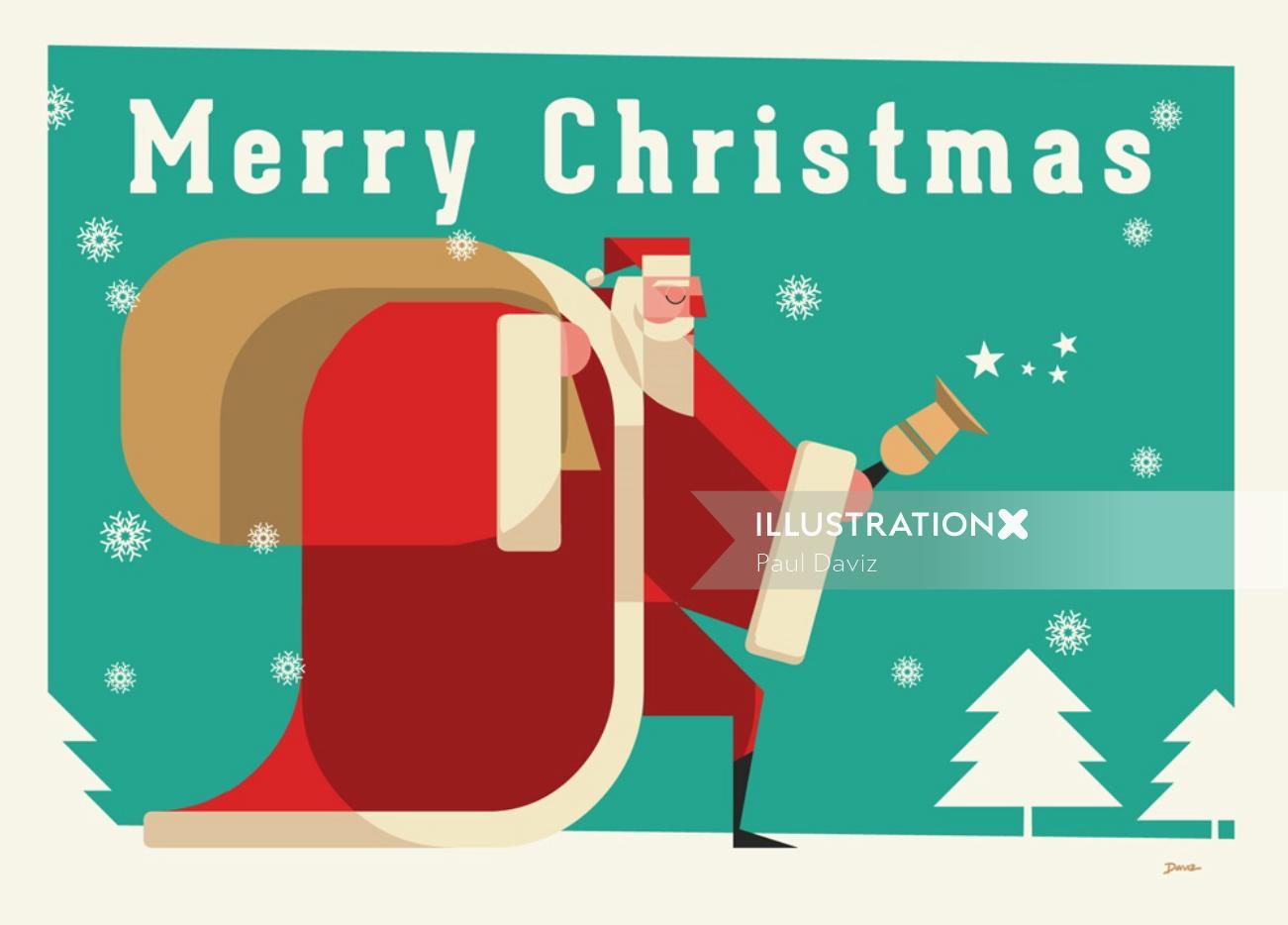 santa Retro Greeting card for Stolarnia Kartek