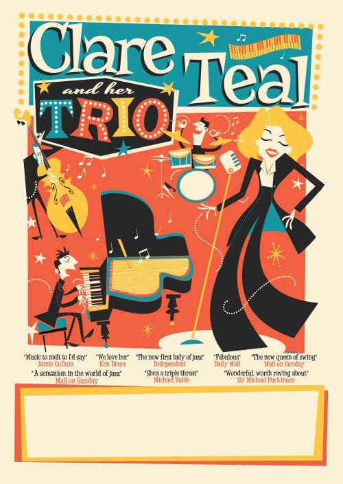 Retro Clare Teal flyer