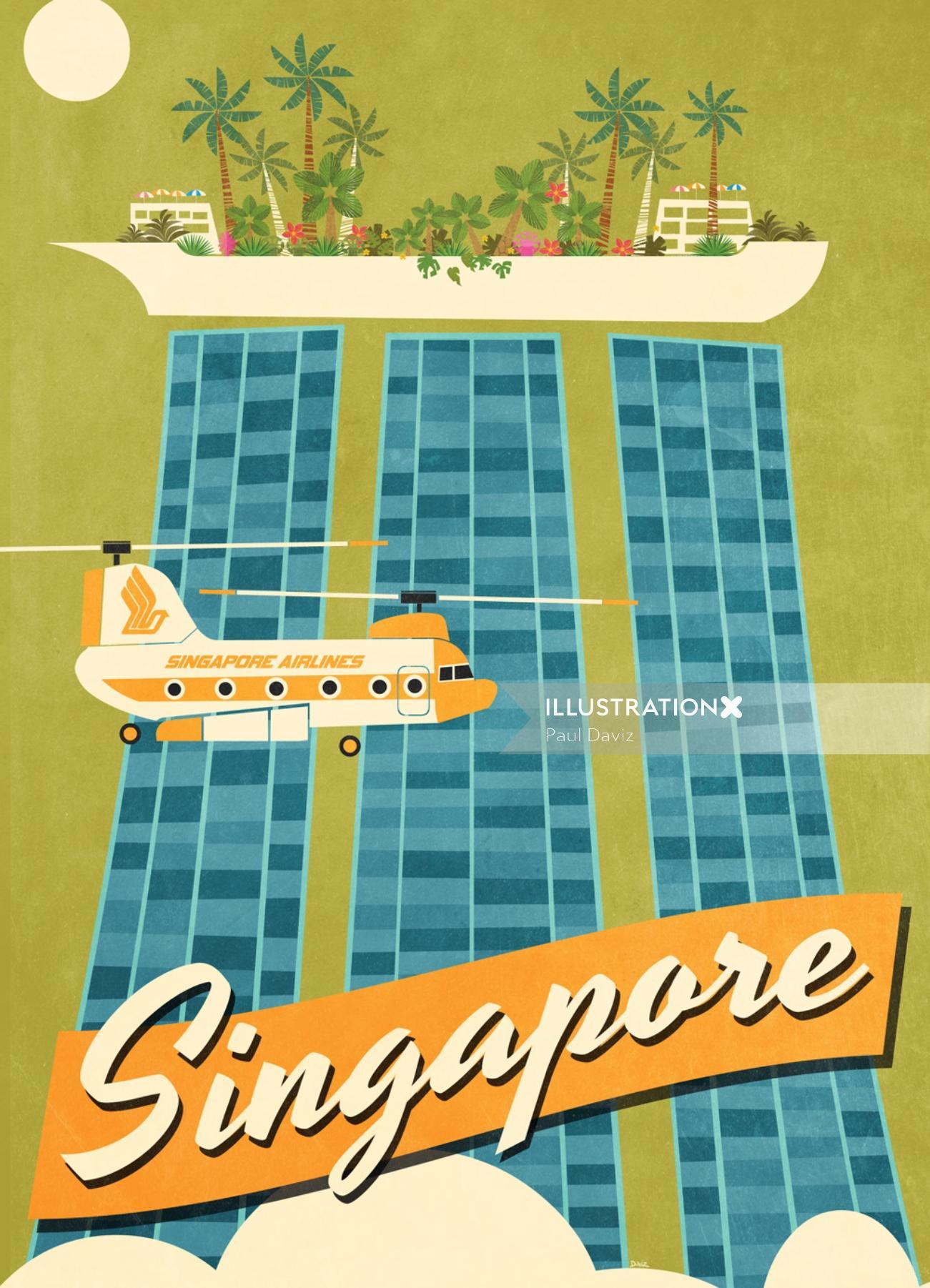 Vector illustration of Singapore city