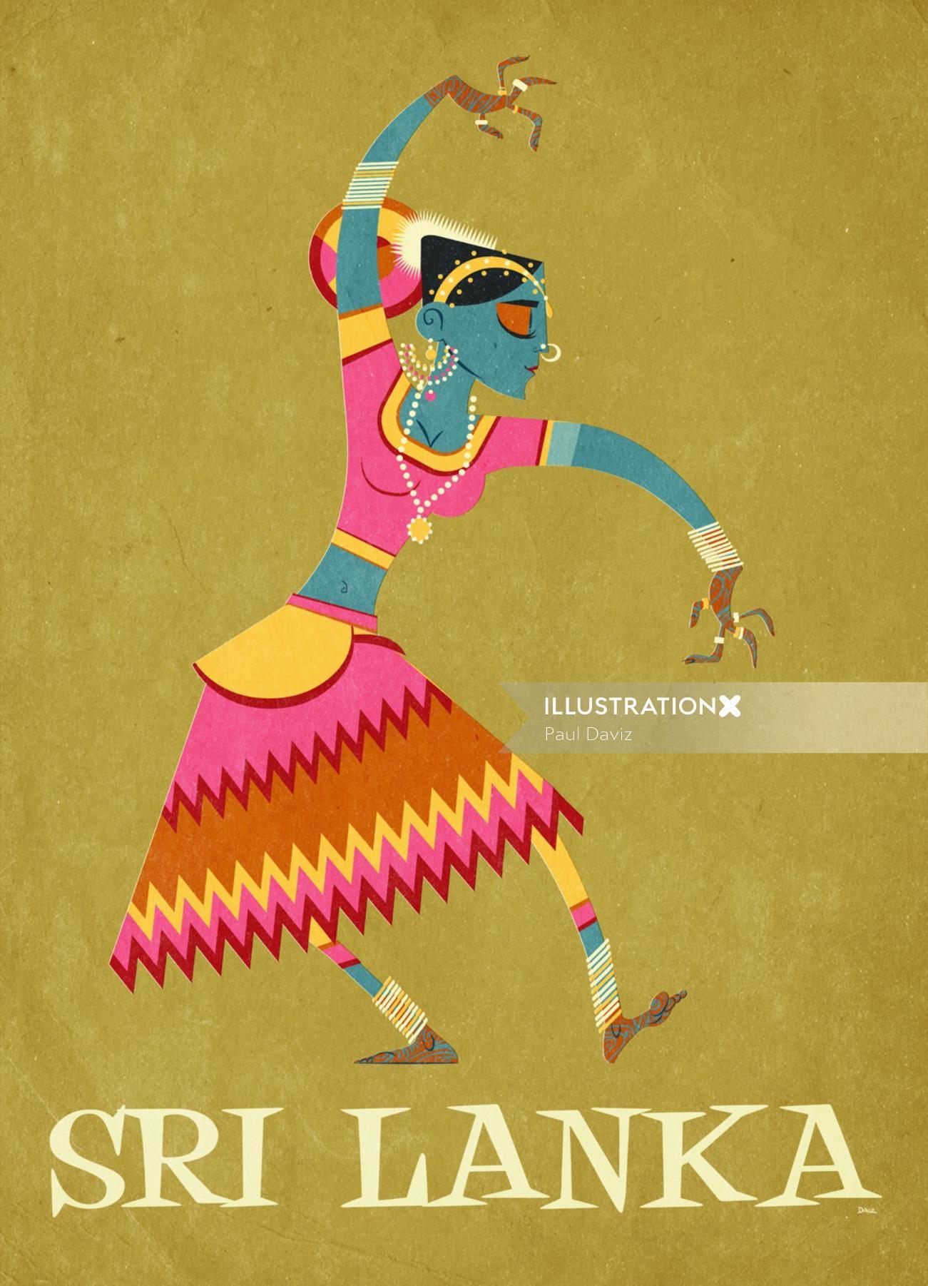 Vector illustration of Sri Lanka dancer