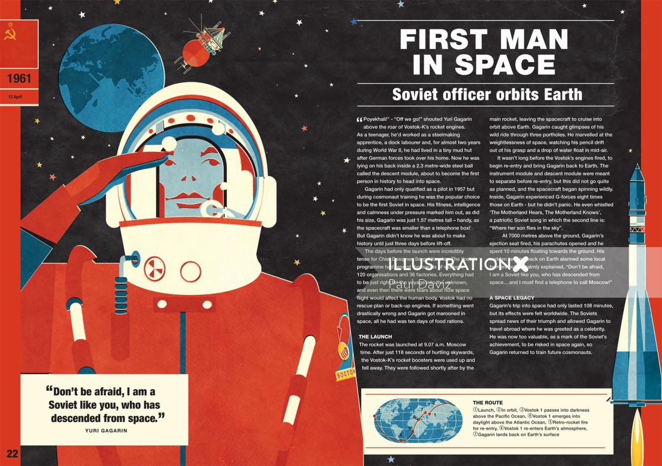 Vector illustration of first man in space