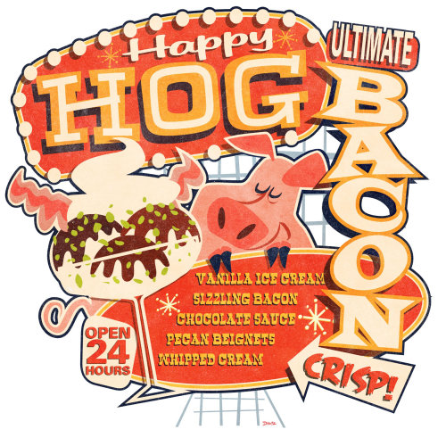 Happy Hog vector poster illustration