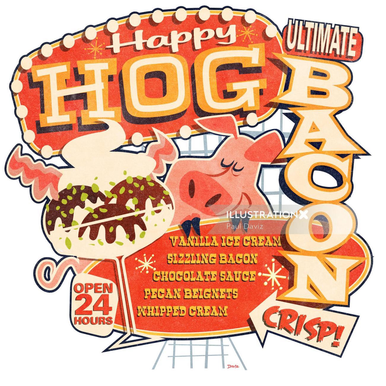 Happy Hog vector poster illustration